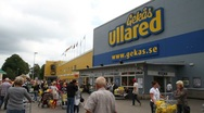 Entrance at Gekås shopping centre, Ullared Stock Footage