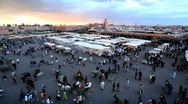 Stock Video Footage of Elevated view over the Djemaa el-Fna, Marrakech, Morocco, North Africa