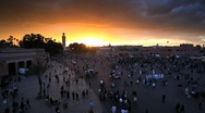 Stock Video Footage of Djemaa el-Fna and the Koutoubia Mosque, Marrakech, Morocco, North Africa, Africa