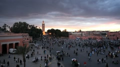 Djemaa el-Fna and the Koutoubia Mosque, Marrakech, Morocco, North Africa, Africa - stock footage