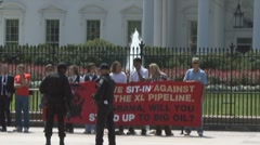 Keystone XL tar sands pipeline protest Stock Footage