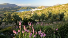 Andalucia countryside with the town of Zahara de la Sierra, Spain Stock Footage
