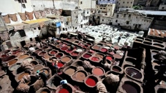 Traditional Tanning vats in Fez, Morocco, North Africa Stock Footage