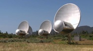 Stock Video Footage of SETI radio telescopes turn