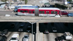 Downtown Los Angeles Traffic - Tilt Shift - Zoom - stock footage