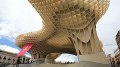 Metropol Parasol Sevilla, the extraordinary new Seville Market, Seville, Spain Stock Footage