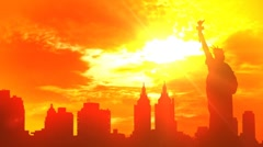 Silhouette of the New York City Stock Footage