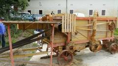 Ferguson tractor, threshing machine Stock Footage