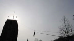 Zip-line and tree Stock Footage