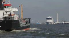 Cruiseship meets oil tanker Stock Footage