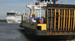 Cruiseship meets ferryboat medium Stock Footage