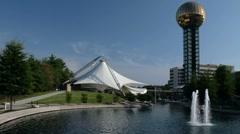 Worlds fair park sunsphere, fountain and  Tennessee amphitheater Stock Footage