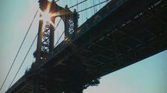 NY Manhattan Bridge Lensflare Stock Footage