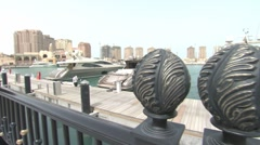 DOHA - THE PEARL - STEADYCAM BOAT VIEW - stock footage
