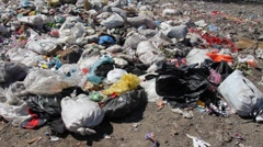 Ecological pollution, dumping of garbage - stock footage