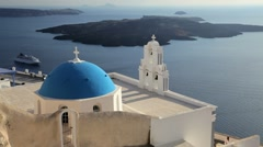 Blue Domed Churches of Thira Overlooking the Aegean Sea, Santorini, Greece Stock Footage