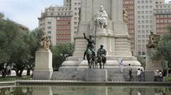 Madrid Cervantes monument 6 Stock Footage