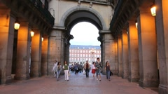 Madrid entry to Plaza Mayor Stock Footage