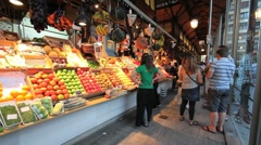 Madrid market with fruit 1 Stock Footage