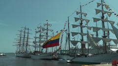 Wooden ships in port of Cartagena - stock footage