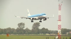KLM plane landing at Schiphol - stock footage