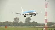 KLM plane landing at Schiphol Stock Footage