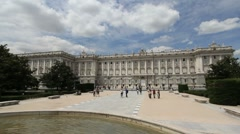 Madrid royal palace broad view Stock Footage
