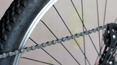 Greasing the chain on a bicycle Stock Footage