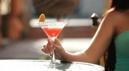 Stock Video Footage of female hand with  martini  glass