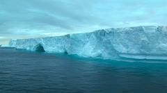 Track along tabular iceberg Stock Footage