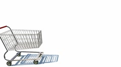 Shopping cart full of money Stock Footage