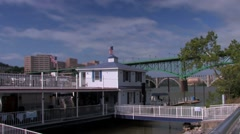 Volunteer Landing waterfront and marina in Knoxville, Tn Stock Footage