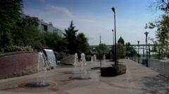 Volunteer Landing fountains along riverwalk greenway Stock Footage