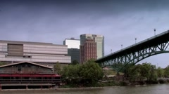 Knoxville skyline and Volunteer Landing marina seen from Tennessee River - stock footage