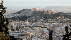 The City of Athens with the Acropolis in the distance, Athens, Greece, Europe Stock Footage