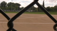 Chain Linked Fence to Baseball Field Stock Footage