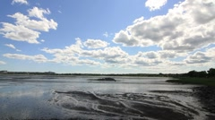 Wet lands water clouds Stock Footage