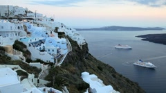 White washed houses of Thira, Island of Santorini, Greece, Europe Stock Footage