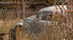 Old Rusty Slug Bug VW Beatle Weeds - stock footage
