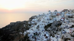White washed houses of Oia, Island of Santorini, Greece, Europe Stock Footage