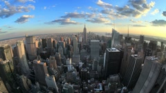 NYC Day Night Timelapse Manhattan Empire State Building Fisheye 24 Seamless Loop Stock Footage