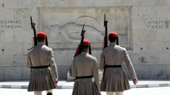 Evzone Ceremonial guards, Athens, Greece, Europe Stock Footage