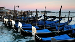 Gondolas moored on the Grand Canal in Venice, Veneto, Italy, Europe, T/lapse Stock Footage