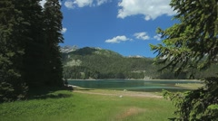 Shore of a lake surrounded by pine trees and mountains on a summer day - stock footage