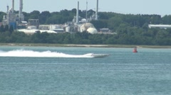 Fast Power Boat Moving on Water Stock Footage
