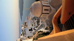Domed white washed churches of Thira, Greece, Europe Stock Footage