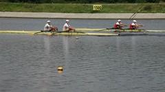 Rowers in training athletes Stock Footage