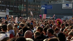 Crowd in the center of Copenhagen Stock Footage