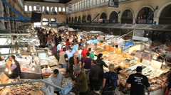 The popular Central Fish Market in the centre of Athens, Greece, Europe Stock Footage