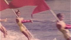 BATHING SUIT GIRLS Flags Waterski Show 1950s Vintage Film Home Movie Footage 300 Stock Footage